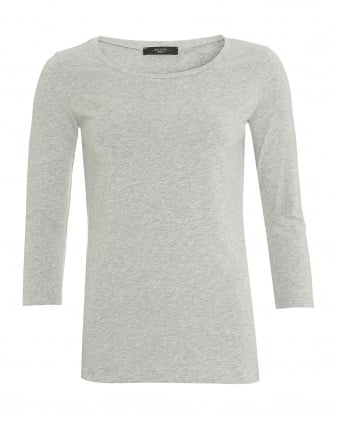 Womens Multi C T-Shirt, Grey Melange Three Quarter Sleeve Tee