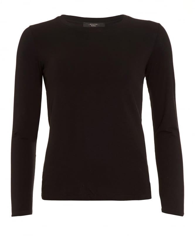 Max Mara Weekend Womens Multi D Top, Black Long Sleeve T-Shirt