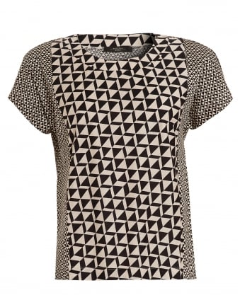 Womens Nectar Triangle Print Dark Brown Beige T-Shirt