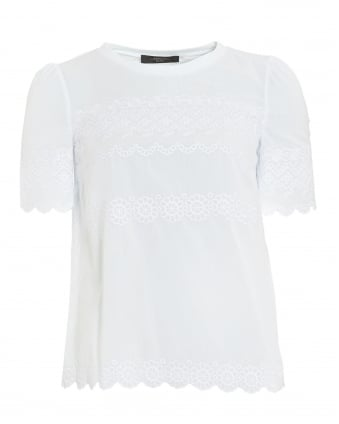 Womens Ondine T-Shirt, White Embroidered Top