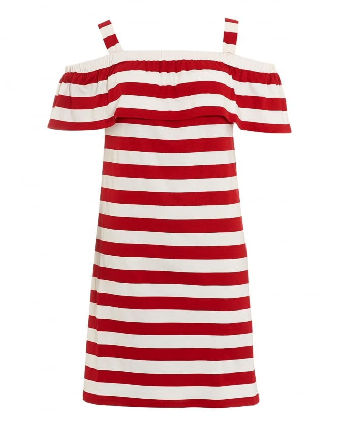 Max Mara Weekend Womens Palmira Red White Striped Off Shoulder Jersey Dress