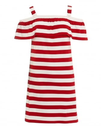 Womens Palmira Red White Striped Off Shoulder Jersey Dress