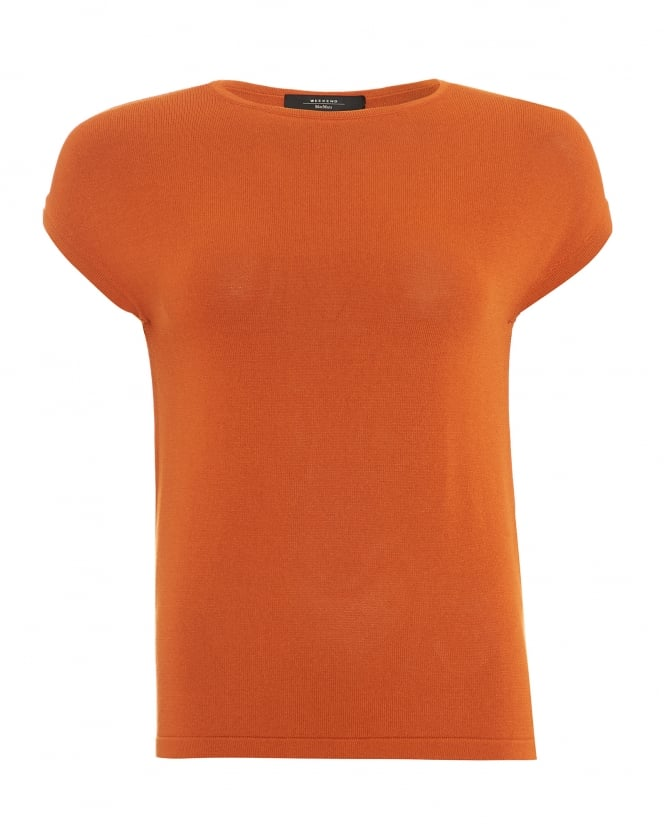 Max Mara Weekend Womens Panino Top, Orange Cap Sleeve Jumper