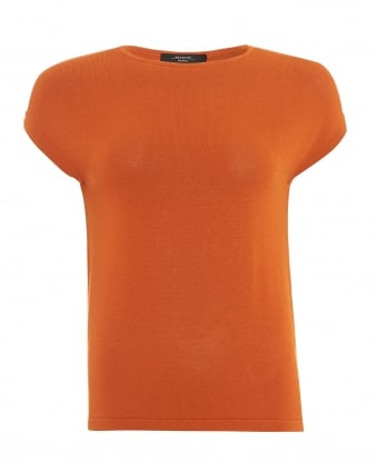 Womens Panino Top, Orange Cap Sleeve Jumper