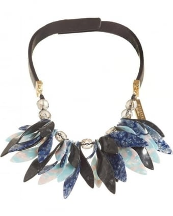 Womens Perigeo Necklace, Black Navy Petal Choker