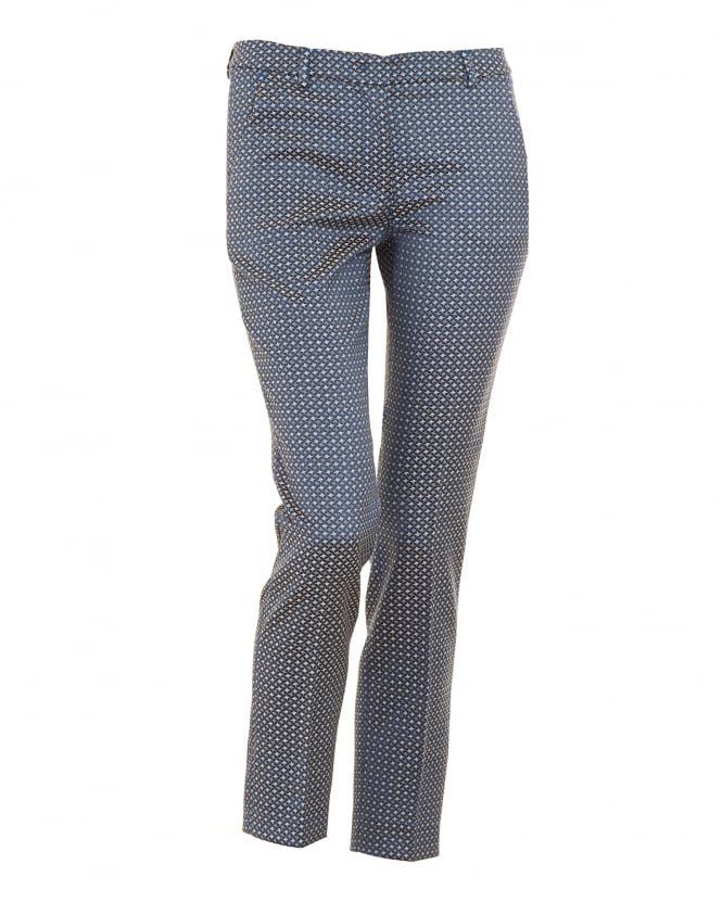 Max Mara Weekend Womens Plava Trousers, Blue Patterned Slim Fit Cropped Trouser