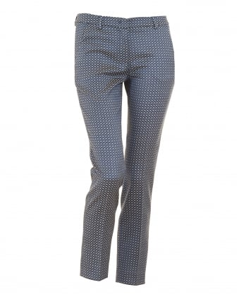 Womens Plava Trousers, Blue Patterned Slim Fit Cropped Trouser