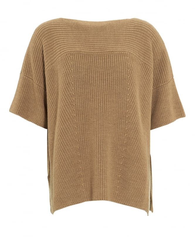 Max Mara Weekend Womens Poggio Jumper, Camel Brown Knitted Tunic