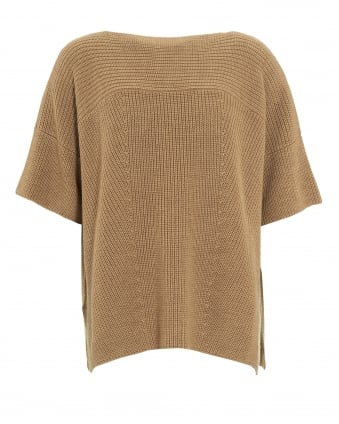 Womens Poggio Jumper, Camel Brown Knitted Tunic