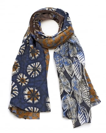 Womens Renania Navy Blue Brown Ethnic Print Scarf