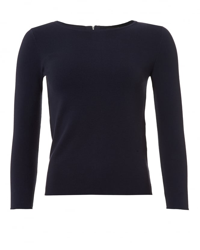 Max Mara Weekend Womens Savona Jumper, Zipped Back Navy Blue Sweater