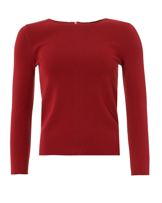 Max Mara Weekend Womens Savona Jumper, Zipped Back Red Sweater