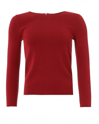 Womens Savona Jumper, Zipped Back Red Sweater