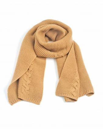 Womens Serio Camel Cable Knit Scarf