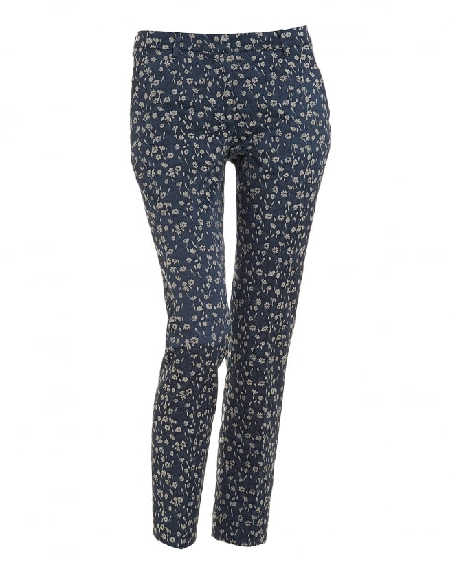 Max Mara Weekend Womens Taro Ultra Marine Blue Floral Cropped Cigarette Trousers