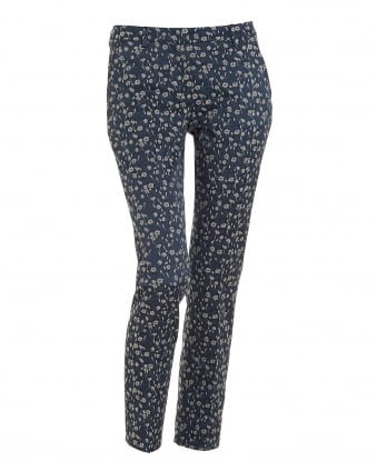 Womens Taro Ultra Marine Blue Floral Cropped Cigarette Trousers