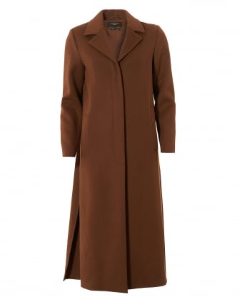 Womens Tavola Long Wool Bronze Coat