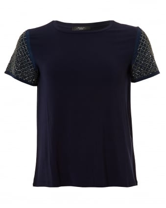 Womens Teti Top, Embellished Ultra Marine T-Shirt