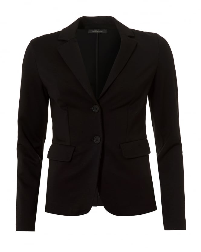 Max Mara Weekend Womens Vaals Jacket, Black Jersey Blazer Jacket