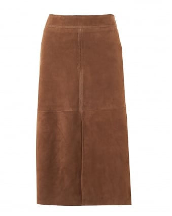 Womens Zadar A-Line Vent Suede Tobacco Skirt