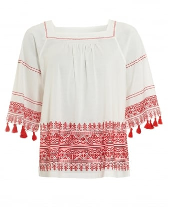 Womens Zambia Square Neck Red Embroidered Top