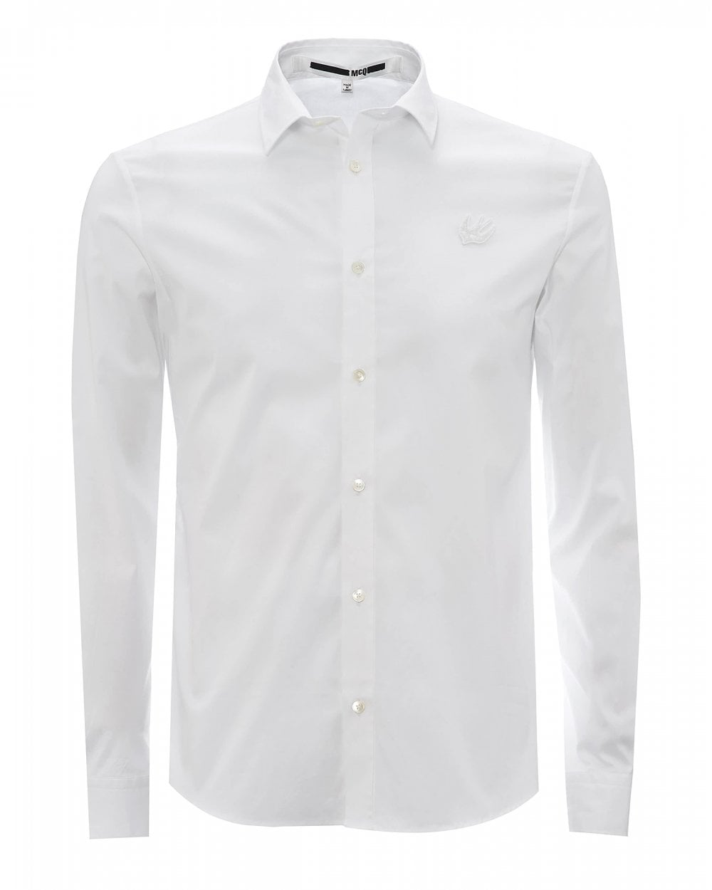 mcq by alexander mcqueen mens white swallow logo slim fit shirt mcq swallow mens white swallow logo slim fit shirt