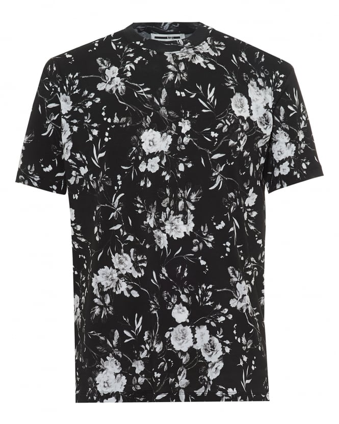 McQ by Alexander McQueen Mens All Floral T-Shirt, Greyscale Tee