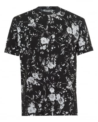 Mens All Floral T-Shirt, Greyscale Tee