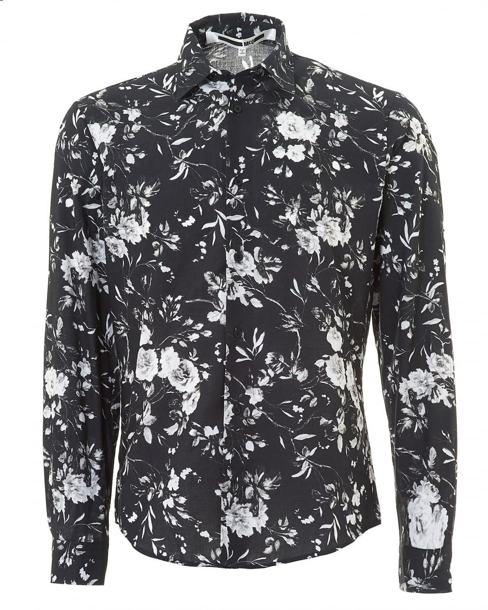 Mcq by alexander mcqueen mens all over floral greyscale for Alexander mcqueen shirt men