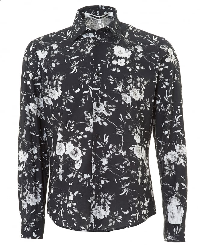 McQ by Alexander McQueen Mens All Over Floral Greyscale Flower Print Shirt