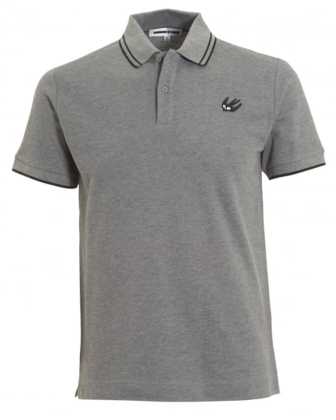 McQ by Alexander McQueen Mens Black Tipping Polo Shirt, Slim Fit Grey Melange Polo