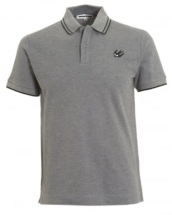 Mens Black Tipping Polo Shirt, Slim Fit Grey Melange Polo