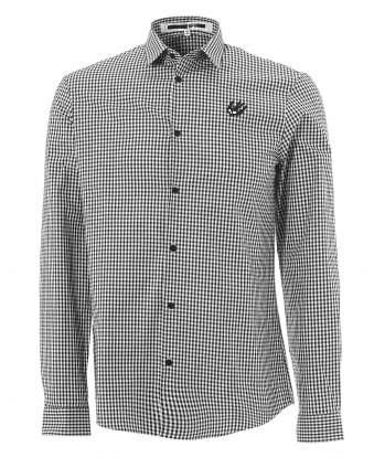 Mens Black & White Gingham Swallow Harness Shirt