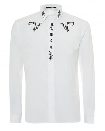 Mens Embroidered Lettered Regular Fit White Shirt