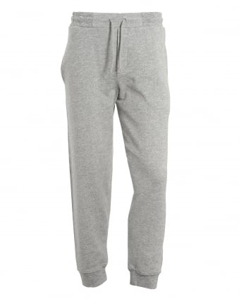 Mens Gothic Lettering Trackpants, Cuffed Grey Melange Sweatpants