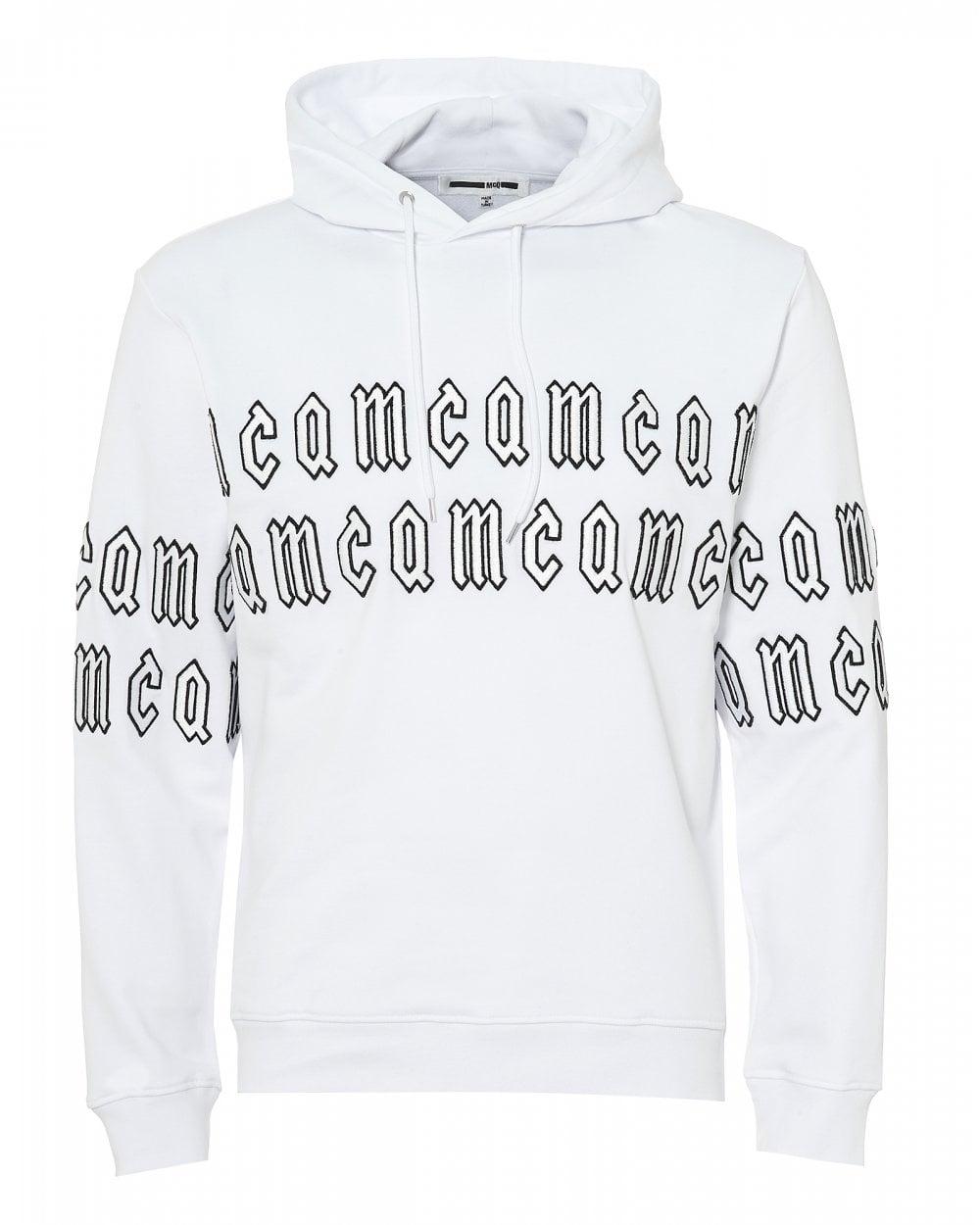ca02929eda0b5 Mens Gothic Logo Hoodie, Optic White Hooded Sweatshirt