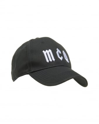 Mens Logo Baseball Hat, Black Cotton Cap