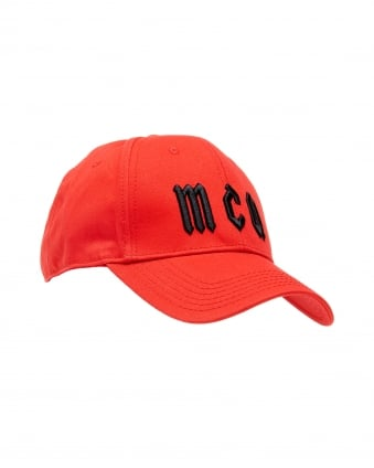 Mens Logo Baseball Hat, Red Cotton Cap