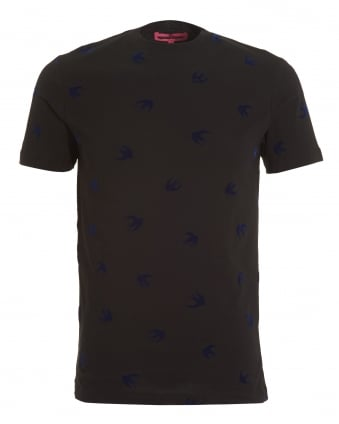 Mens Micro Swallow Print T-shirt, Regular Fit Black Blue Tee