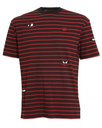 Mens Monster Stripe Pattern T-shirt, Regular Fit Black Red Tee