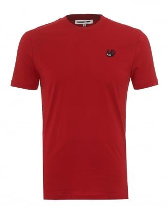 Mens Plain Logo T-Shirt, Regular Fit Red Tee