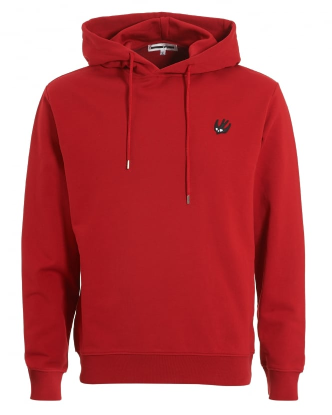 McQ by Alexander McQueen Mens Plain Sweat, Overhead Amp Red Hoodie