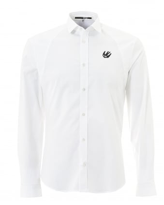 Mens Plain White Swallow Harness Fitted Shirt