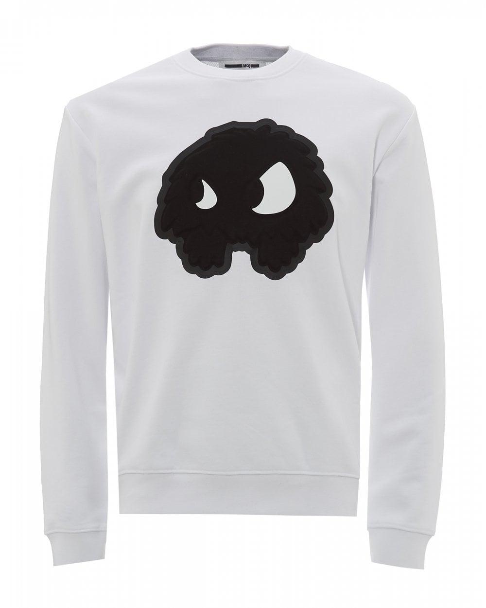 ba2744df982bd Mens Raised Fabric Monster Sweatshirt, White Sweat