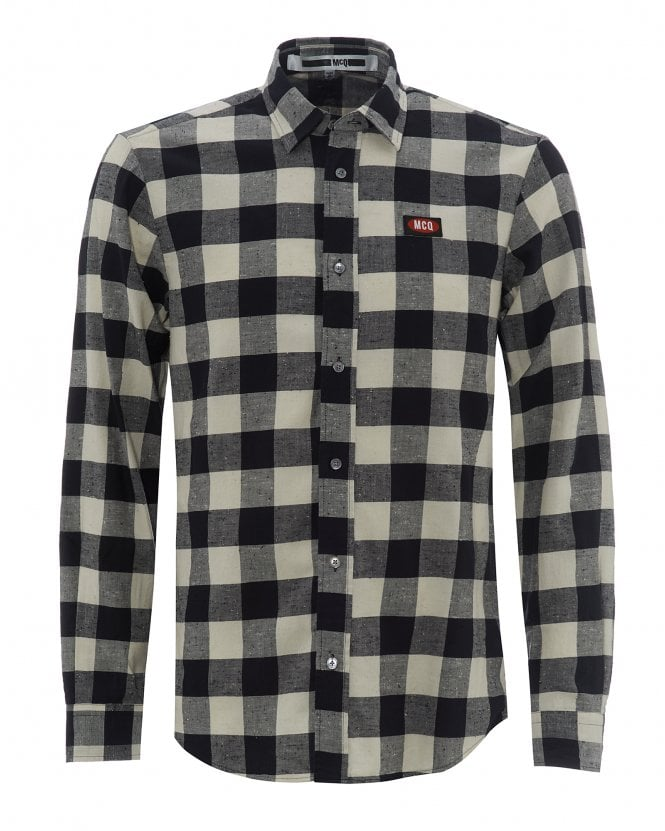 McQ by Alexander McQueen Mens Shields 25 Elevated Checked Cotton Shirt