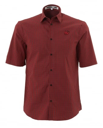Mens Short Sleeve Red & Black Gingham Swallow Shirt