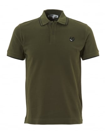 Mens Swallow Polo, Khaki Green Tipped Polo Shirt