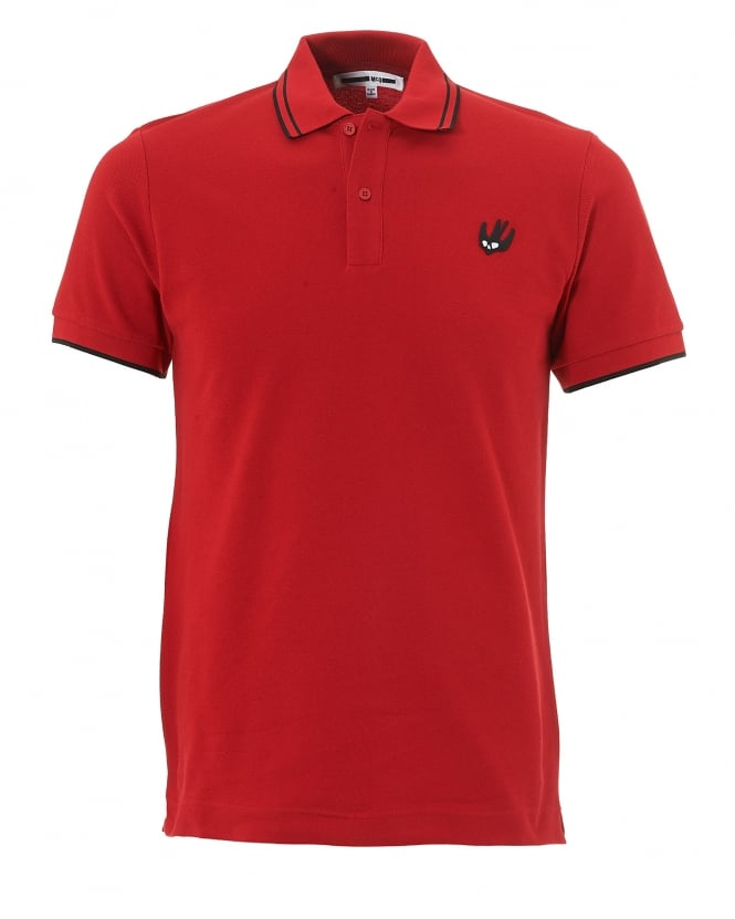 McQ by Alexander McQueen Mens Swallow Polo, Red Tipped Polo Shirt
