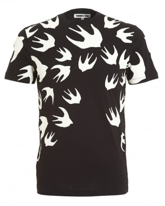 Mens Swallow Swarm Print T-shirt, Regular Fit Black Tee