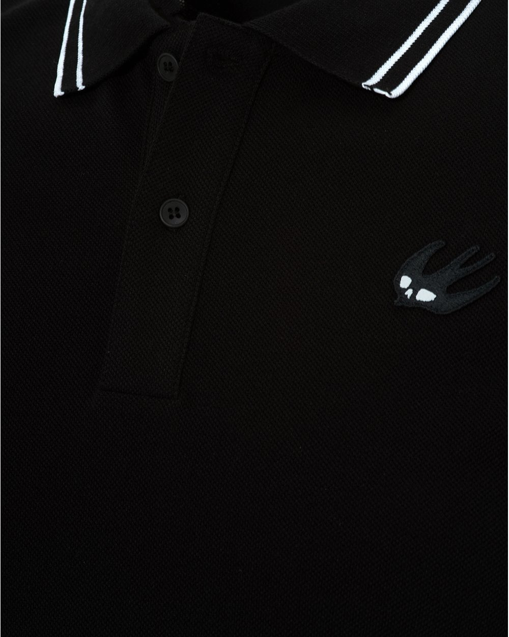 Mcq By Alexander Mcqueen Mens Tipped Polo Shirt Dark Black Polo